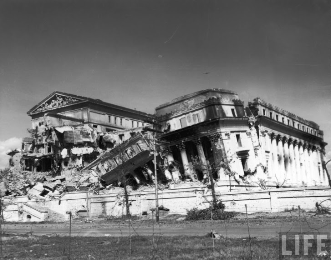 The Old Legislative Building (now the National Museum) was bombed during the Battle of Manila, 1945 | Photo from the Official Gazette