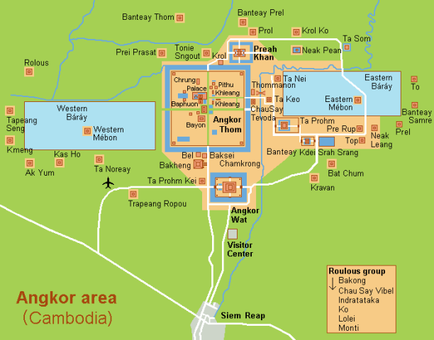Map of the Angkor Wat Archaeological Park